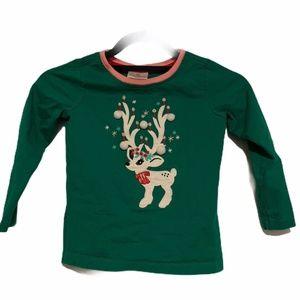 Hannah Andersson Reindeer Pom Pom Pajama Top 110